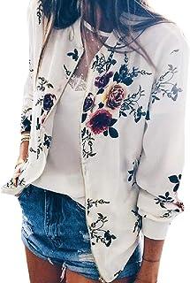 neveraway Women Zip Fastening Biker Print Long Sleeve Bomber Jacket Coat