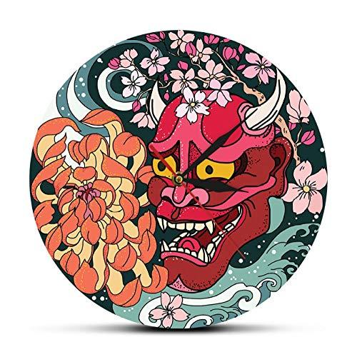 ZYZYY 12 Inches Reloj de Pared de máscara de Demonio Oni Rojo gótico Comida...