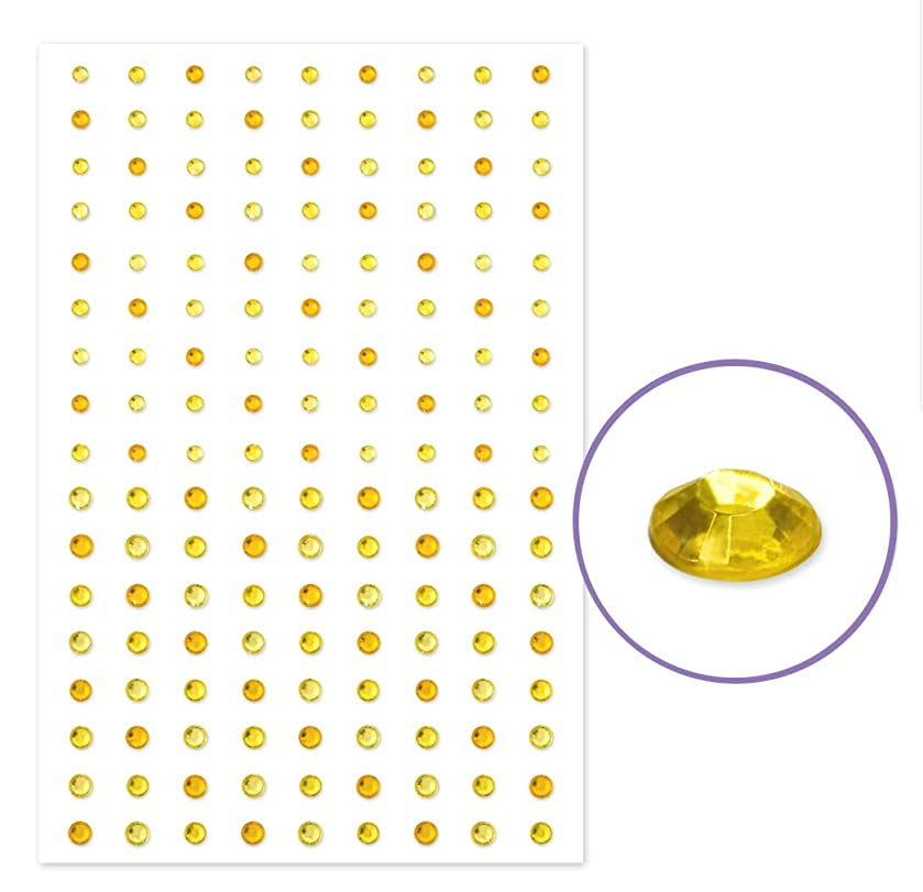 Prim Sheet of Self Adhesive Yellow Gold Gem Stickers - Sparkle Diamond Rhinestones - Bling - 3D - Sizes 2.5 MM and 4 MM - 3 Color Assortment in The Gold Color Family - 153 Stickers