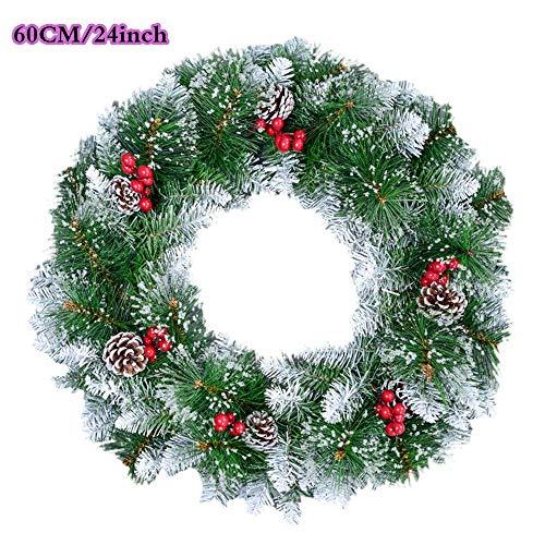 Gogh 24 Inch Grote Kerstmis Pine Naald Krans voor Binnen Voordeur, Sneeuw Getipte Kerstkrans met Sneeuwdennenappels en Rode Bessen voor Kerstfeest Decor
