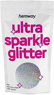 """Hemway Ultra Fine/Extra Fine Sparkle Glitter 100g 3.5oz Cosmetische Safe 1/128""""- Zilver Holografisch"""
