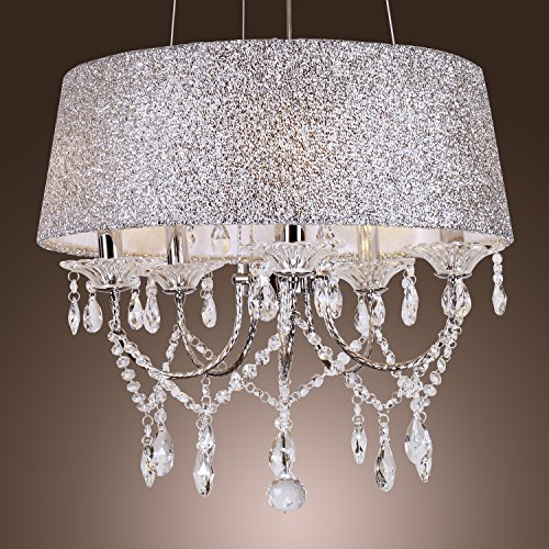 Deluxe Modern Crystal Chandeliers with 5 Lights Pendant Light in Round Drum Shape Ceiling Light with Celling Fans…
