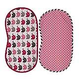 Bacati - Girls Elephants Set of 2 100% Cotton Washable Reusable Burpies/ Burp Cloths for Baby Girl (Pink/Grey)