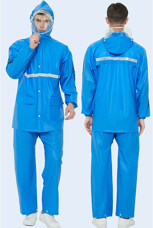 FHGH 2PCS Adult Split Raincoat, PVC Reflective Raincoat and Rain Pants Suit, Detachable Brim Design, for Fishing/Cycling,G,XLarge
