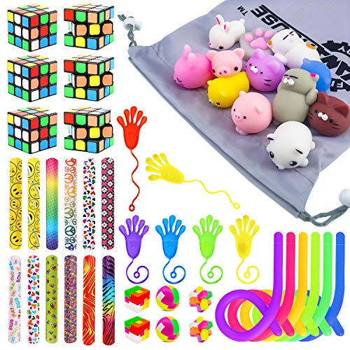 48 Pack Party Favor Toy Assortment Bundle,Magic Cube,Mochi Squishies,Slap Bracelets Party Favors Toy For Birthday,Classroom Rewards,Carnival Prizes,Pinata Filler, Goodie Bag Fillers, Classroom Rewards