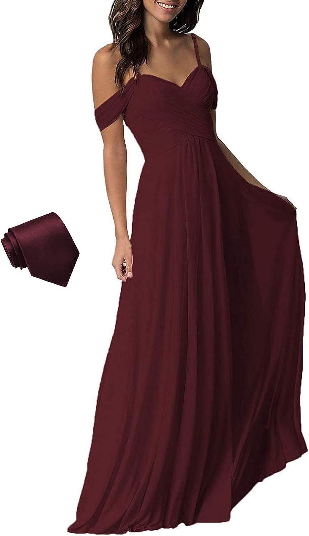 YUESUO Wedding Bridesmaid Dress Long Cold Shoulder Pleated Chiffon Formal Dress for Women B005