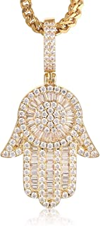 Mens Womens Hot Hip Hop 14K Gold Plated Micro Iced Out Hamsa Hands Pendant with 28