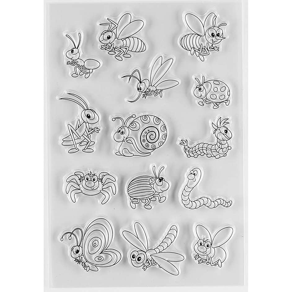 MaGuo Insect Clear Rubber Stamps Butterflies Bees Ladybirds Ants Snails Dragonflies etc for DIY Scrapbooking Paper Craft or Card Making Decoration