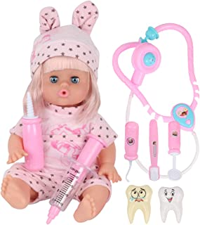 Huang Cheng Toys 9 PCS 12 Inch Doll with Clothes Alive Lovely Baby American Girl Dentist Medical Toys for Kid