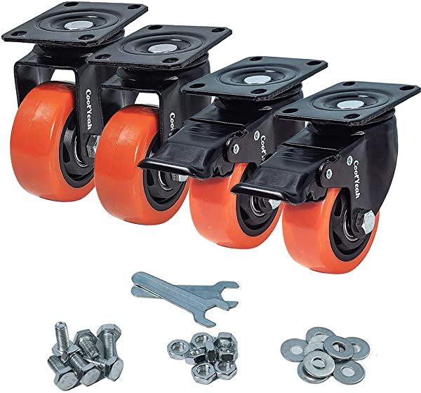 CoolYeah 3 Inch Swivel Plate PVC Caster Wheels Industrial Premium Heavy Duty Casters Pack Of 4 2 With Brake 2 Without