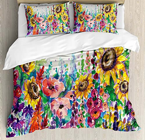 Ambesonne Floral Duvet Cover Set, Floral Watercolor Style Wildflowers in Country Lansdcape Colorful Flowers Art Print, Decorative 3 Piece Bedding Set with 2 Pillow Shams, King Size, Dark Indigo