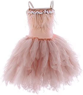 774e49208 OBEEII Little Girl Swan Princess Feather Fringes Tutu Dress Pageant Party  Wedding Dance Formal Birthday Short