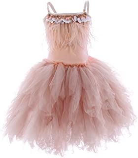 Girls Spaghetti Strap Feather Fringes Tutu Tulle Swan Princess Dress Ruffles Pageant Wedding Birthday Tiered Ballet Gown…