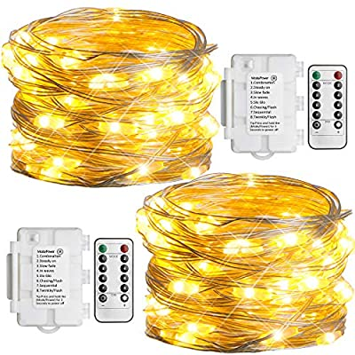 Koopower 2 Pack Outdoor String Lights 16ft 50 LEDs Battery Operated Fairy Lights
