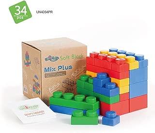 UNiPLAY Mix Plus Series Soft Building Blocks - Non-Toxic, & BPA-Free - 34-Piece Multi-Color Set