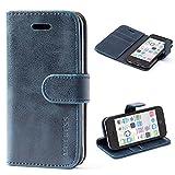 Mulbess Coque pour iPhone 5c, Etui iPhone 5c Cuir avec Magnetique, Housse Protection pour iPhone 5c Case, Marine Bleu