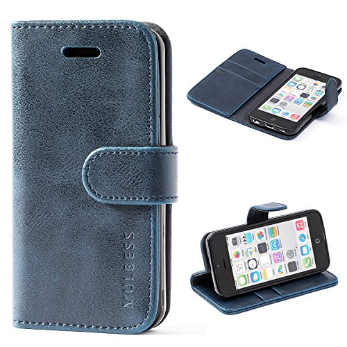 Mulbess Funda para iPhone 5c, Funda Cartera iPhone 5c, Funda Libro para iPhone 5c con Tapa, Azul Marino