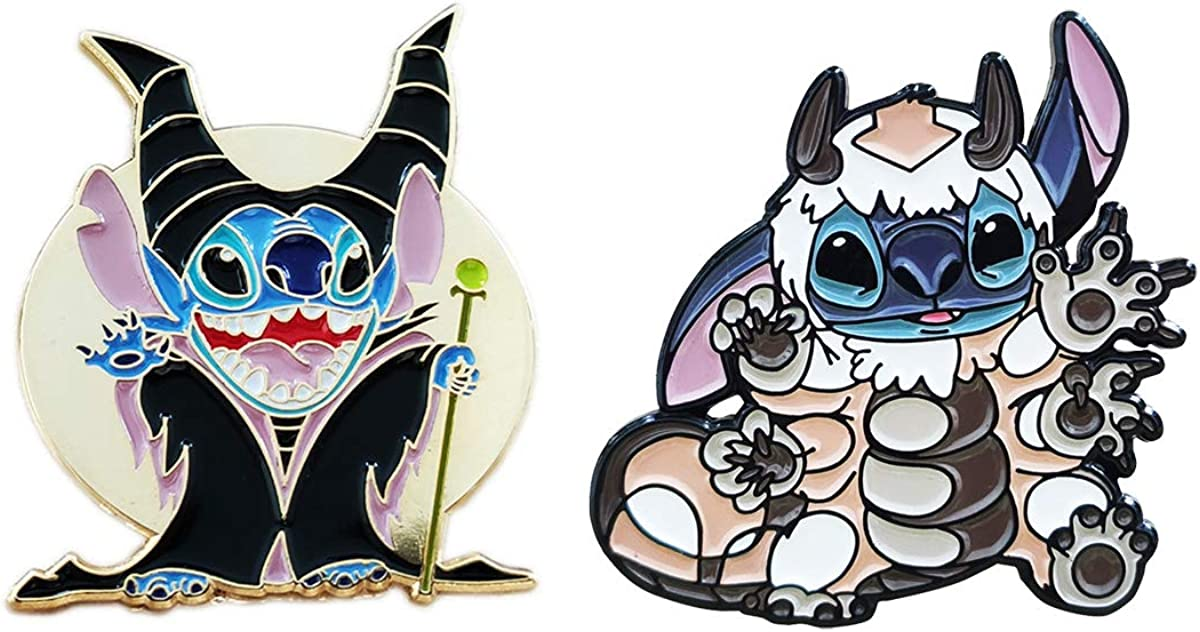 Set of 2 Stitch Cosplay Avatar Appa and Maleficent Hard Enamel Pin Badge Brooch