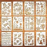 12 plantillas de dibujo para pintura artística, plantillas en madera y paredes, plantillas de plástico reutilizables