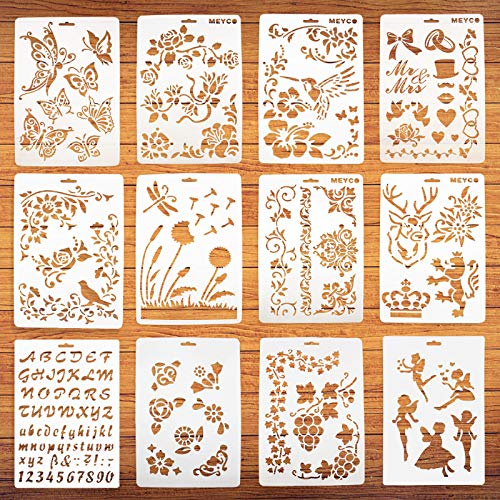 12 plantillas de plantillas de dibujo para pintura artística – Plantillas en madera y paredes, plantillas de plástico reutilizables
