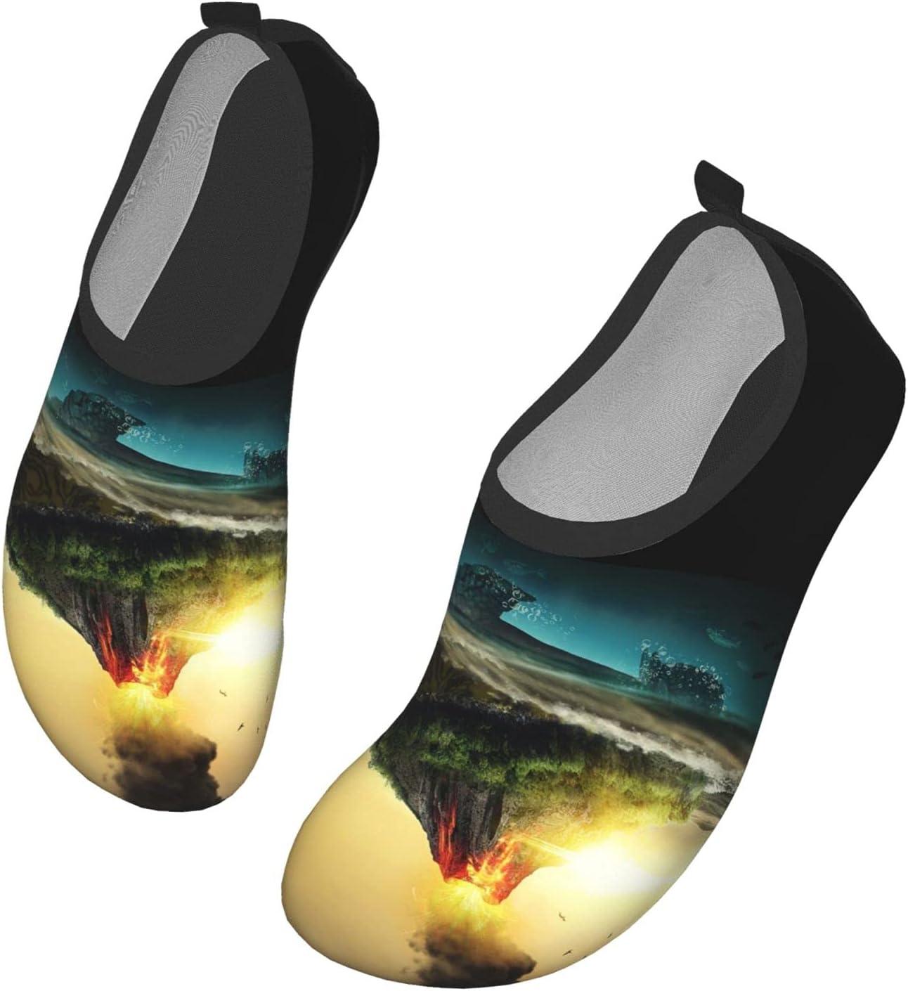 Womens Mens Summer Water Shoes Volcano Sea Turtle Funny Barefoot Shoe Quick Dry Aqua Socks