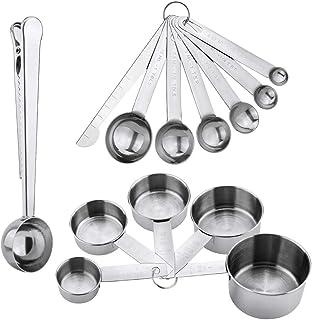 Jooheli Set d'ustensiles de mesure en acier inoxydable 13 pièces avec règle de mesure, 5 tasses à mesurer, 6 cuillères dos...