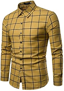 Soft and Close Hot Fashion Long-Sleeved Shirt, Casual Plaid Shirt Men Cultivating Spring Buttons, Machine Washable wl (Color : Yellow, Size : S)