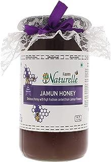 Farm Naturelle-Virgin 100% Pure Raw Natural Unprocessed Jamun Flower Forest Honey-1 KG Glass Bottle