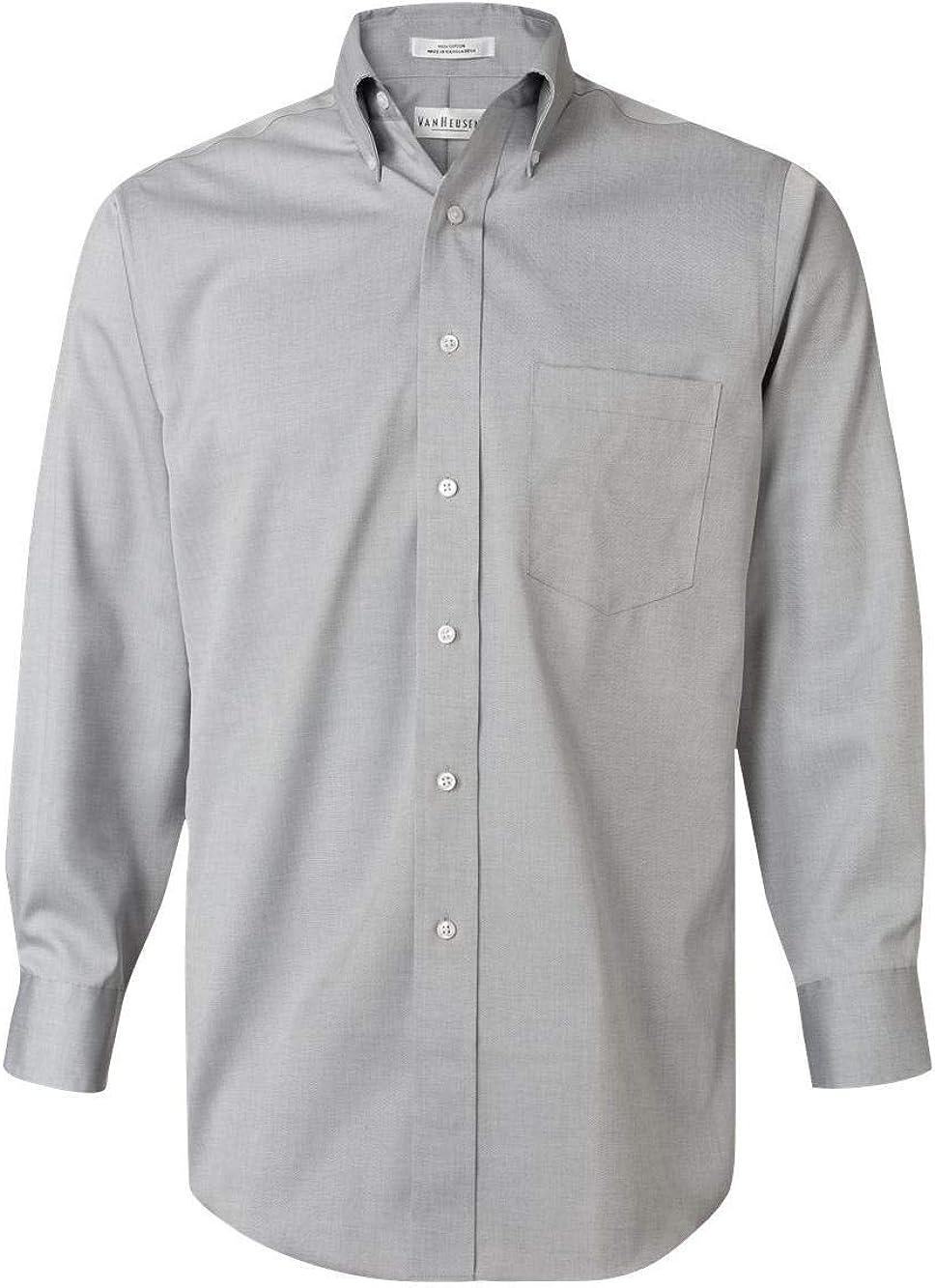 Van Heusen - Camisa de vestir para hombre, 100% algodón, no necesita planchado, colores