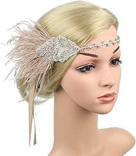 TENDYCOCO Gatsby Headband 1920s Gatsby Headdress Flapper Headwear Crystal Beaded Wedding Headpiece for Women Girls