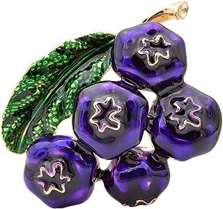 Spille ai mirtilli smaltati per le donne Spilla alla moda con spilla alla frutta Moda Pittura Gioielli Accessori per bambi...