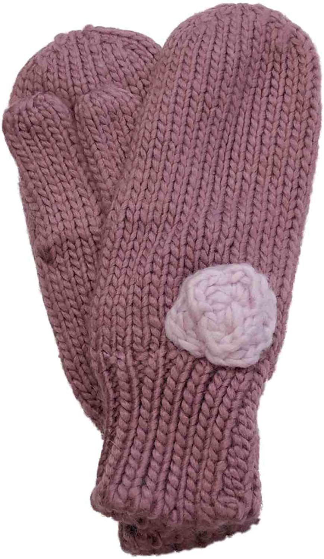 Womens Mauve Rose Pink Knit Rosette Winter Mittens