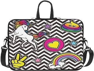 Pop Art Fashion Chic Patches Badges Pins and Sti Pattern Briefcase Laptop Bag Messenger Shoulder Work Bag Crossbody Handbag for Business Travelling