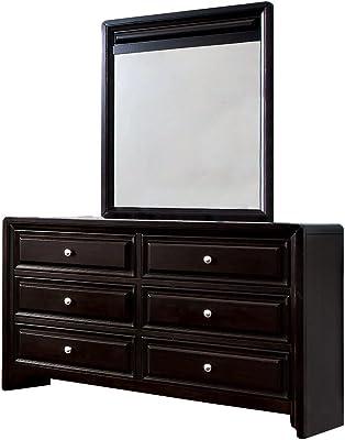 Furniture of America Melbourne 6-Drawer Dresser and Mirror Set, Espresso Finish