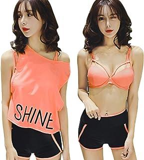 Lixinsunbu タンキニ 水着 レディース ビキニ 3点セット ワイヤー2WAY着られる 可愛い 着痩せ 運動風 大きいサイズ