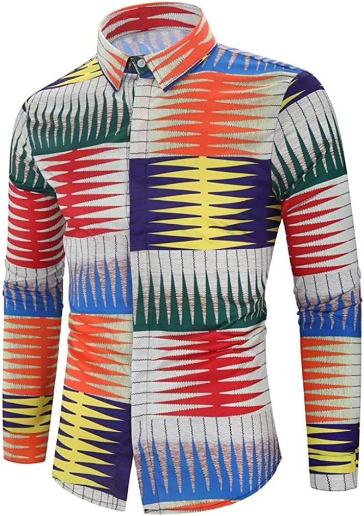 YD-zx Men's Spring Fashion 3D Color Printing Long Sleeve Stand Collar Casual Button Down Shirts Collar Shirt Slim Fit