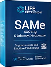 Life Extension SAMe 400 mg Enteric-Coated S-Adenosyl-Methionine Mood Support, Liver Health & Healthy Joint Function Suppor...