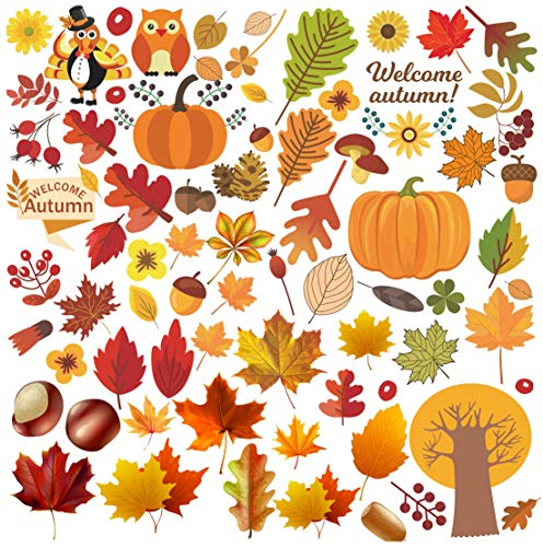Kalolary - 6 hojas de hojas de otoño para ventana, pegatinas de hojas de arce, bellotas y calabazas para ventana de Acción de Gracias, Halloween, día festivo, decoración de cristal
