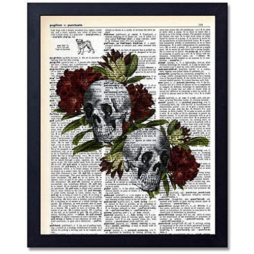 akeke Organs and Flower Anatomy Skull Art Prints - Dictionary Steampunk Medical Wall Art Goth Room Decor Gift for Office,Doctor's Office,Gift,Physician,Nurse,Unframed 8x10 inches