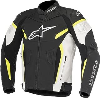 Alpinestars Men's GP Plus R V2 Air Flow Leather Motorcycle Riding Jacket (Black/White/Yellow/Fluorecent, 50)