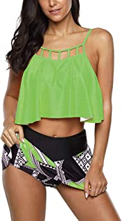 Kiyotoo Swimsuits for Women Plus Size Two Piece Bathing Suits Ruffled Flounce Top with High Waisted Bottom Bikini Set