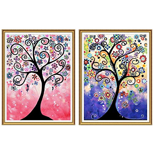 Ginfonr 5D DIY Diamond Painting Full Drill Dream Life Tree by Number Kits, Embroidery Rhinestone Paint with Diamonds Art Crystal Cross Stitch Wall Decor (12 x 16 inch, 2 Pack)