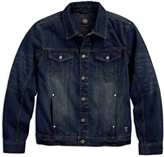 HARLEY-DAVIDSON Men's Brushed Denim Trucker Jacket, Slim Fit, Blue 97445-18VM