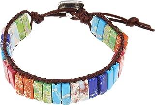 OTOTEC - Bracciale in vera pelle con chakra arcobaleno, con pietra naturale