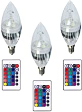 RGBW Led Candle Bulb with IR Remote Control -7 Watts - Base E14 - 3 Pcs