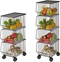 Whifea Metal Wire Basket with Wheels and Cover, 4 Tier Stackable Rolling Fruit Basket Utility Rack, Storage Organizer Bin for Kitchen, Pantry Closet, Bedroom, Bathroom