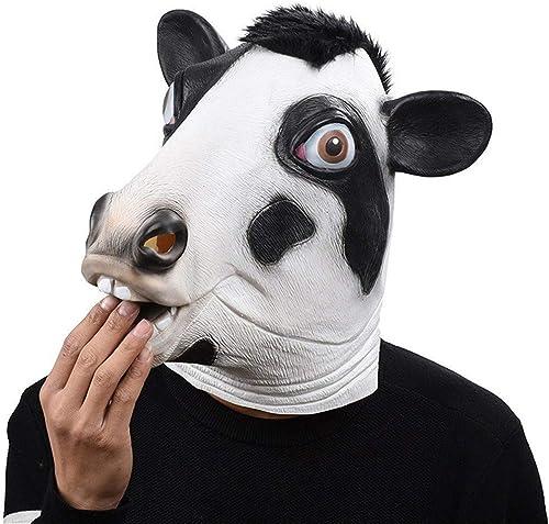 Größelige Kuh Kopf Maske Latex Tier Kostüm Cosplay Prop Spielzeug Party Halloween Event Festliche Lieferungen Masken