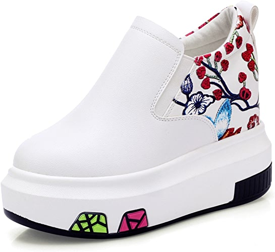 GTVERNH-Chaussures pour Femmes Chaussures en Cuir Chaussures Printemps Pédale Paresseux Brodés De Chaussures à Talons Augmentation DE 10 Cm des Chaussures Blanches.