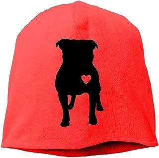 SHA45TM Pitbull Heart Men & Women Winter Helmet Liner Fleece Skull Cap Beanie Hat for Snowboarding White
