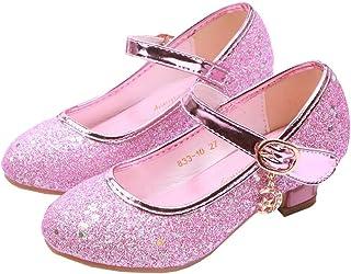 Girls Low Heels Girls Dress Shoes Sparkle Sqeuin Princess...